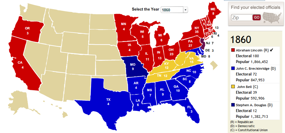 Us map of political parties