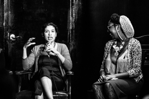 Black models and actresses discuss cultural appropriation in front of a live audience. 2015.